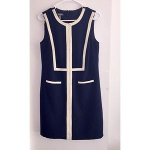Muse Dress, Navy with Beige Trim, Size 6